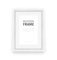 Wooden Rectangle Frame White vector image