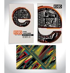 Ancient business card design letter e vector