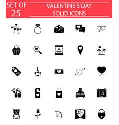 happy valentines day solid icon set vector image vector image