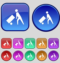 Loader icon sign A set of twelve vintage buttons vector image