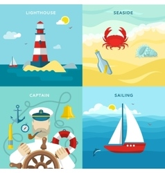 Nautical Colored Icon Set vector image