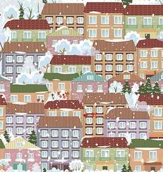 seamless texture with a winter cute houses vector image