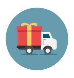 Truck delivey gift box vector image vector image