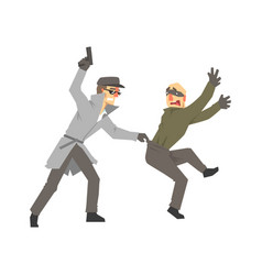 detective character with gun detaining suspect vector image vector image
