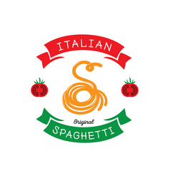 original spaghetti with s letter typography vector image