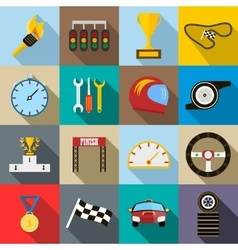 Race icons set flat style vector image