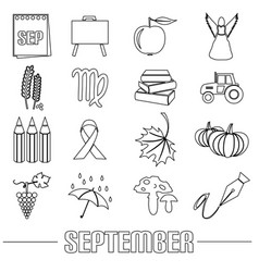september month theme set of outline icons eps10 vector image vector image