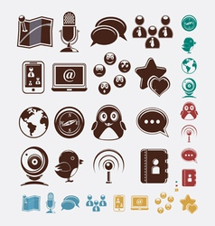 social set of icons vector image