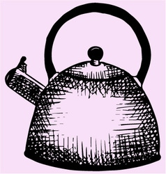 Stove top whistling kettle vector