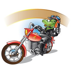 alligator on a motorbiker vector image vector image