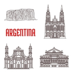 Argentina natural and architecture landmarks vector image