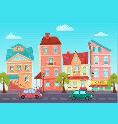 cartoon cute street of a colorful city with vector image vector image