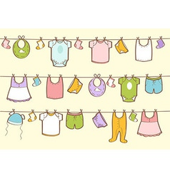 Cute hand drawn baby clothes vector image vector image
