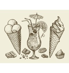 Food dessert drink Hand drawn vintage ice cream vector image vector image