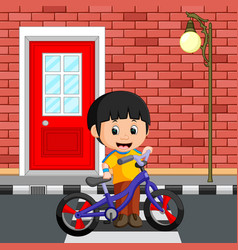 Little boy driving bicycle vector