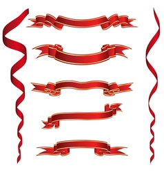 Set of Red Ribbons With Golden Stripes vector image