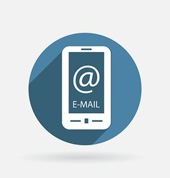smartphone with the symbol mail Circle blue icon vector image
