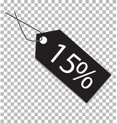 15 percent tag on transparent background 15 vector image