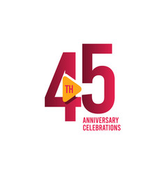 45 years anniversary celebration template design vector