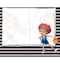 A boy playing basketball vector image