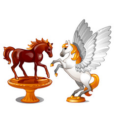 a set of two statues of graceful horses isolated vector image
