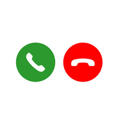 Accept and decline call or red and green yes no vector
