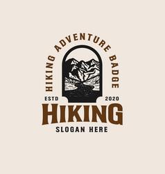 adventure mountain badge logo template vector image