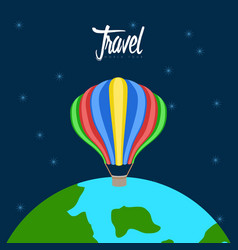 Air balloon flying around earth travel concept vector