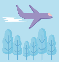 airplane flying with set icons vector image