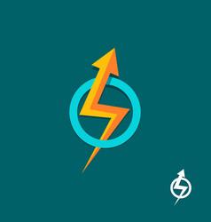 arrow bolt sign logo vector image