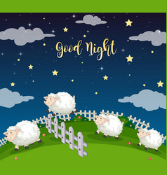 Background scene field with counting sheeps vector