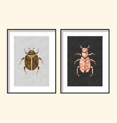Beetle wall poster art designs vector