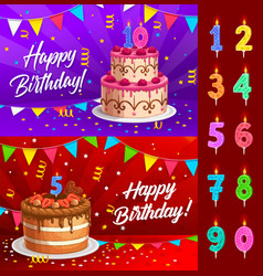 birthday cake with numbered candles greeting card vector image
