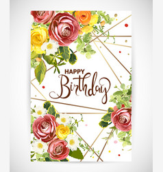 Birthday floral template invite vector