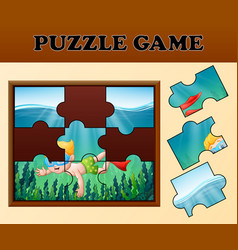 boy diving in undersea with puzzle concept vector image