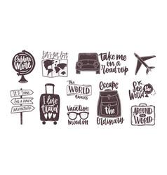 Bundle handwritten motivational slogans vector