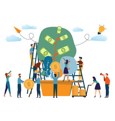 business people and the plant of money concept vector image