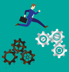 businessman jumping to new cogwheels vector image