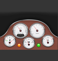 Car dashboard panel decorated with wood vector