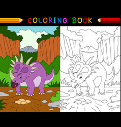 cartoon styracosaurus coloring book vector image