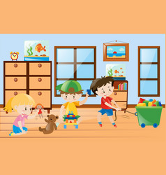 Children playing toys inside the room vector