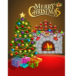 Christmas greeting card with candles Christmas tre vector image