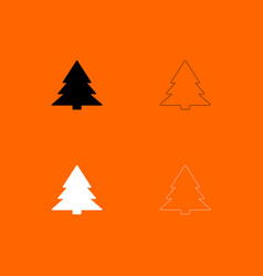 Christmas tree black and white set icon vector