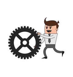 color image cartoon business man pushing a gear vector image