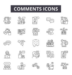 comments line icons signs set outline vector image