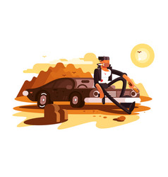 cool tough guy sitting on car and smoking vector image