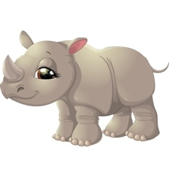 Cute baby rhinoceros sitting vector