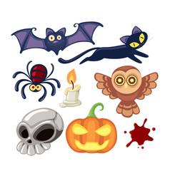 cute halloween cartoon set vector image