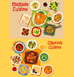 Cypriot and maltese cuisine icon set food design vector