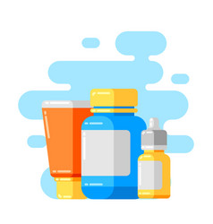 Design with medicine bottles and pills vector